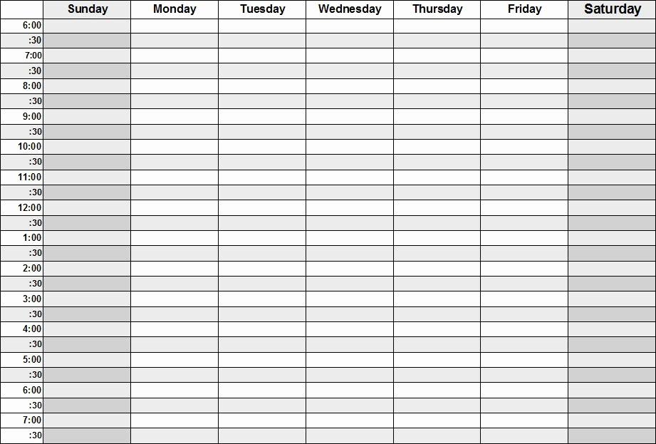 Monday Through Friday Hourly Calendar Inspirational Week Calendar Template Monday Friday&rct