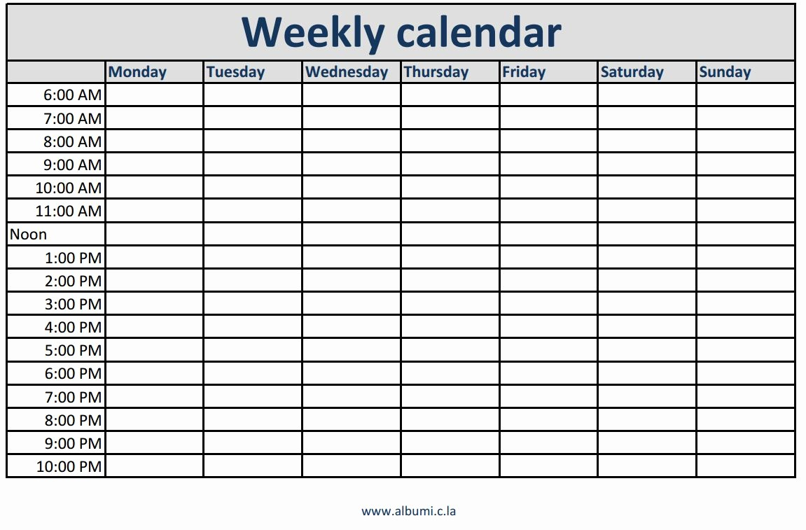 Monday Through Friday Hourly Calendar Lovely Weekly Calendars with Times Printable