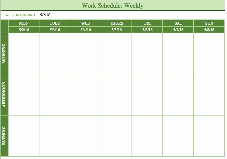 Monday Through Friday Hourly Calendar New Bi Weekly Schedule Template