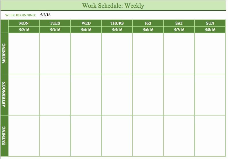 Monday Through Friday Hourly Calendar New Bi Weekly Schedule Template