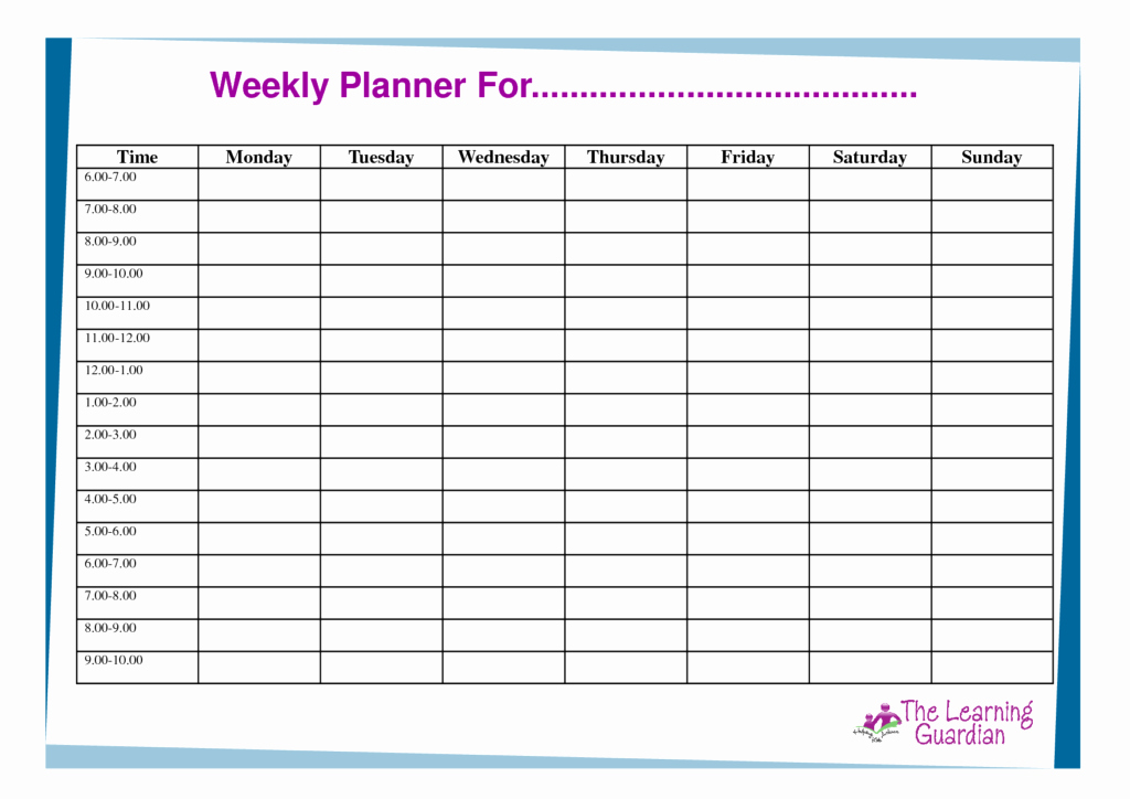 Monday Through Friday Hourly Calendar New Weekly Planner Template