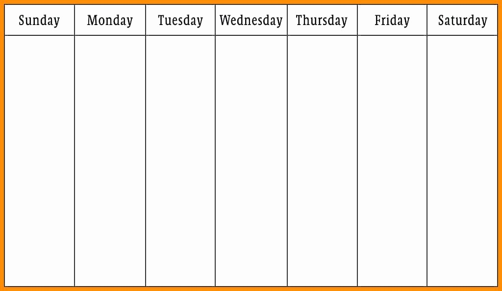 Monday Through Sunday Calendar Template Awesome Blank Printable Calendar Monday Through Friday Free