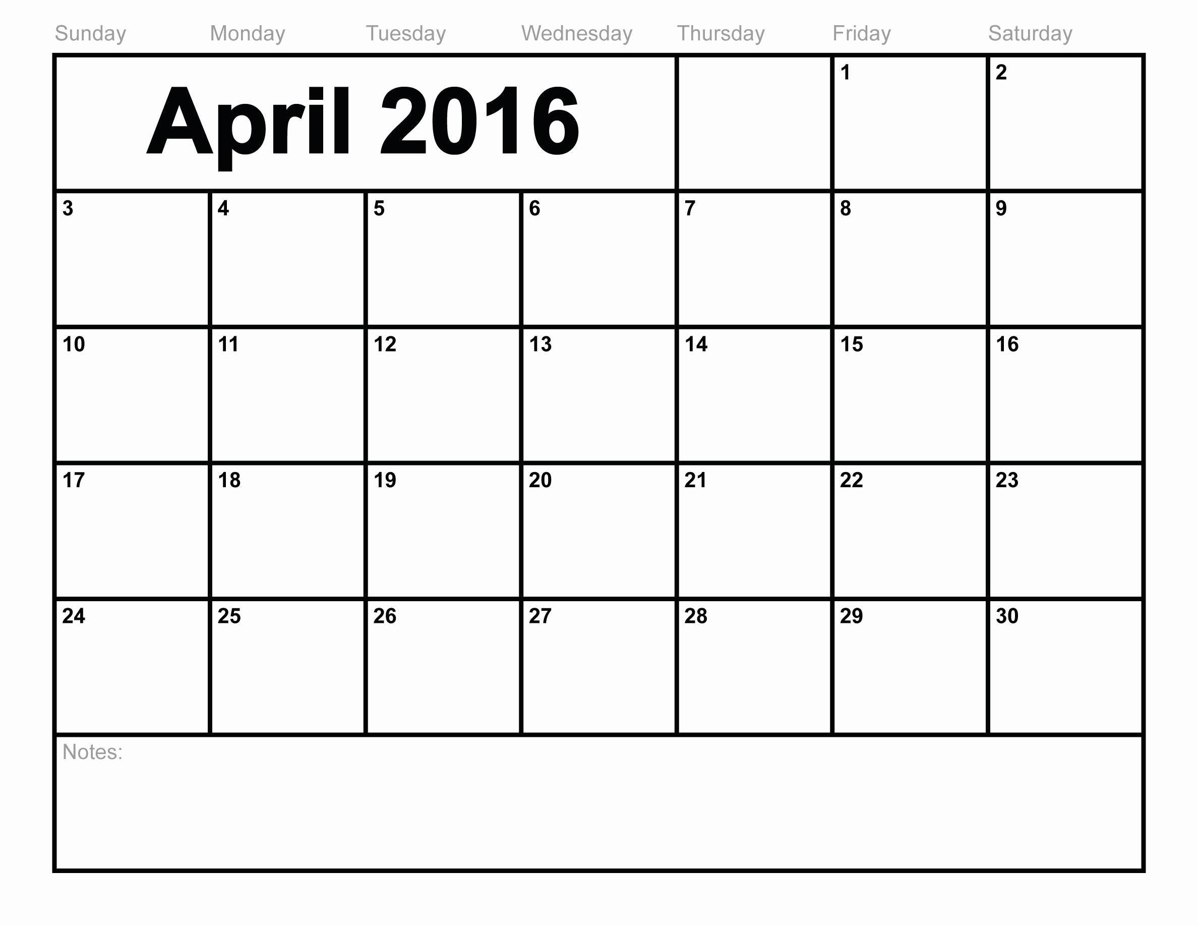 Monday Through Sunday Calendar Template Beautiful April 2016 Free Calendar Monday Through Sunday