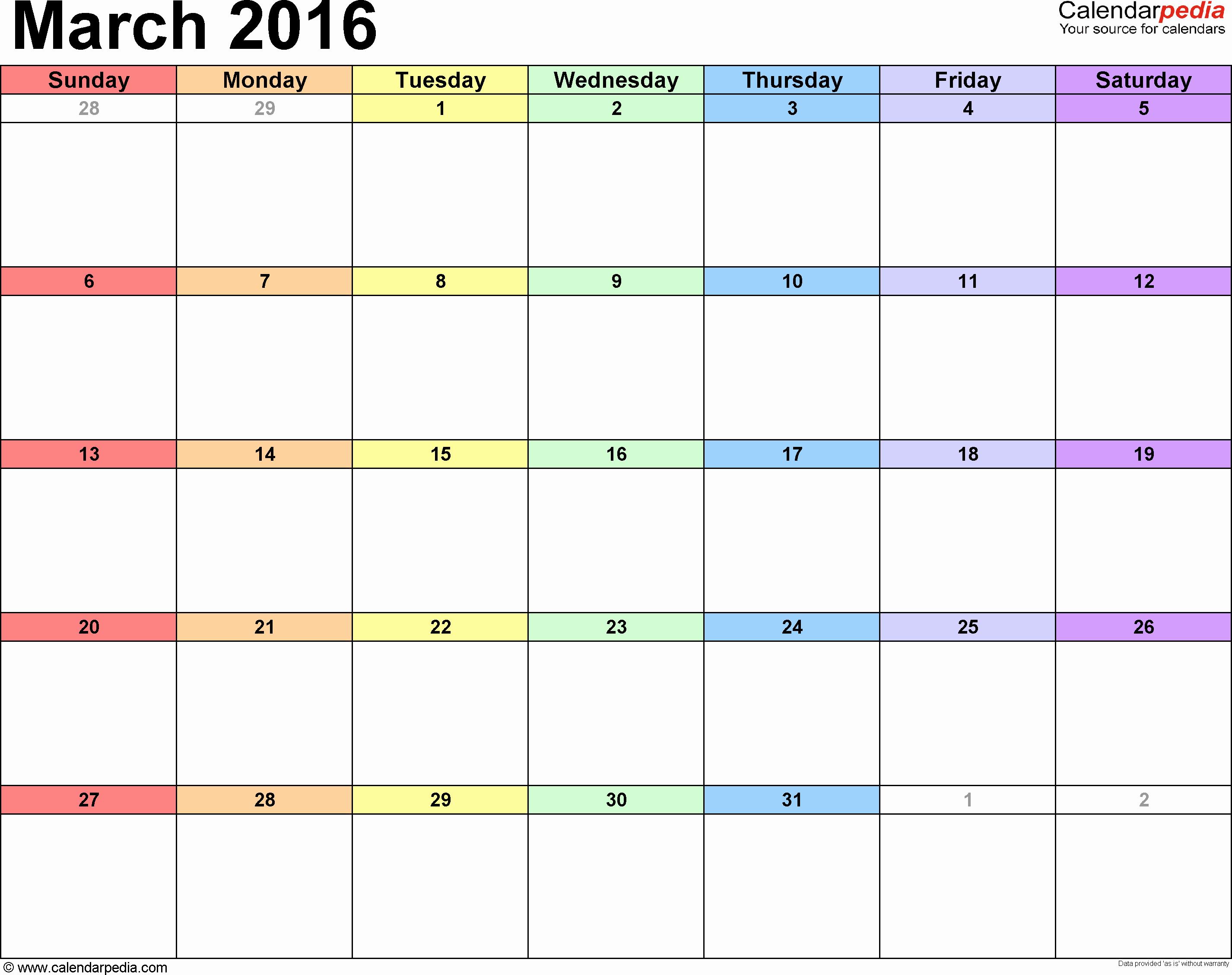 Monday Through Sunday Calendar Template Elegant Printable Calendar 2016 Monthly Monday Through Sunday