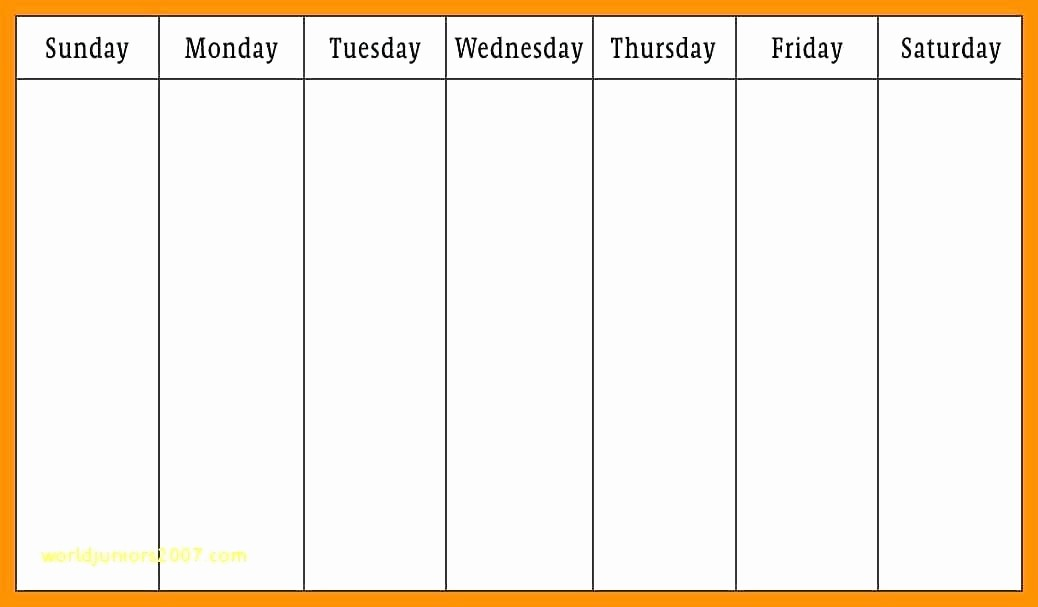 Monday Through Sunday Calendar Template Fresh Monday Friday Calendar Template Printable Weekly Through