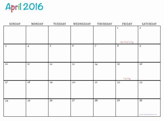 Monday Through Sunday Calendar Template Inspirational April 2016 Free Calendar Monday Through Sunday