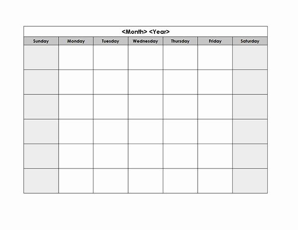 Monday Through Sunday Calendar Template Inspirational Monthly Blank Calendar In Multi Color Landscape Monday