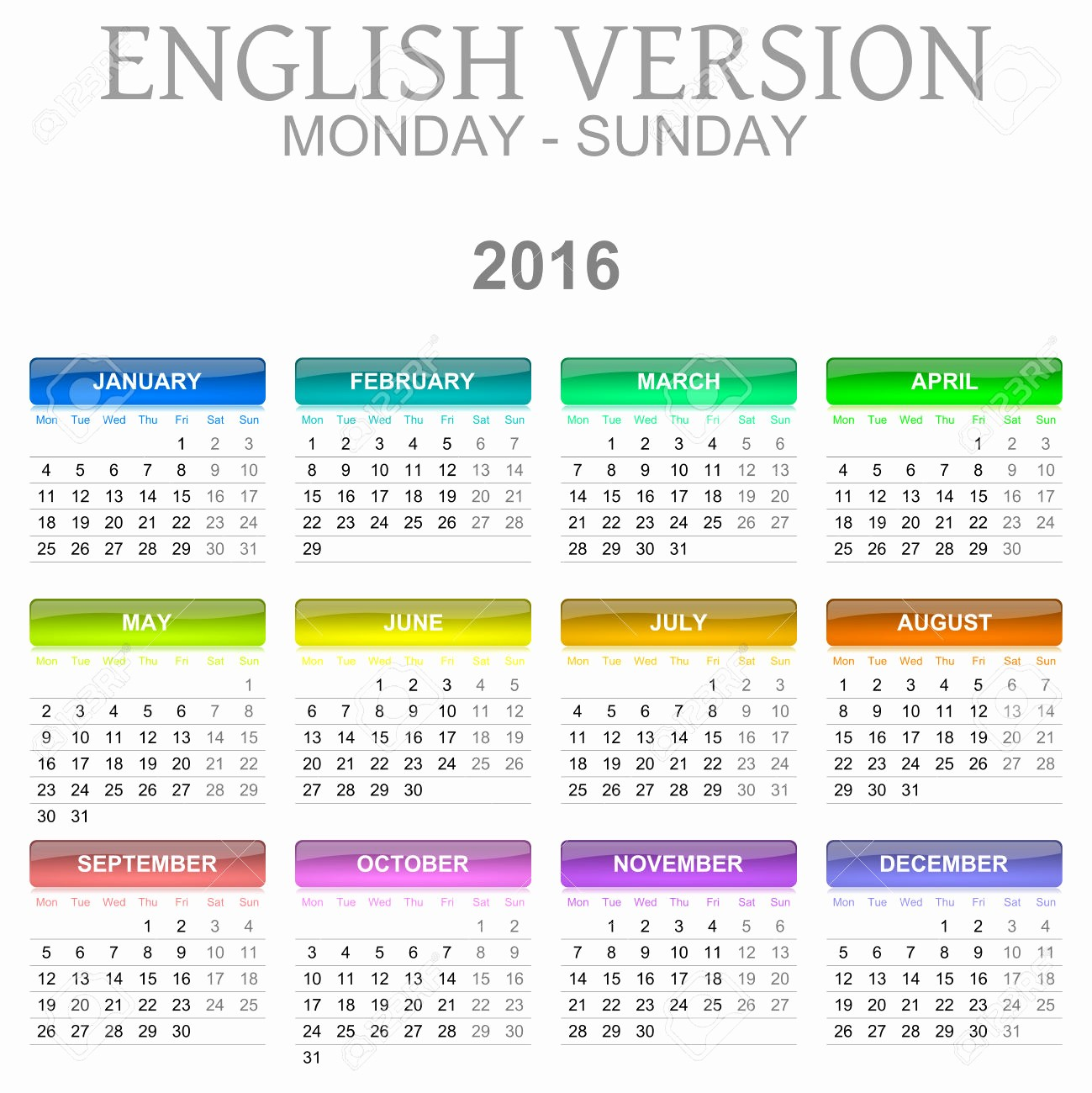 Monday Through Sunday Calendar Template Lovely 2016 Calendar Monday Through Sunday
