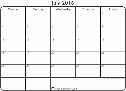 "Monday Through Sunday Calendar Template Lovely Printable Calendar July 2016 ""monday to Friday"""