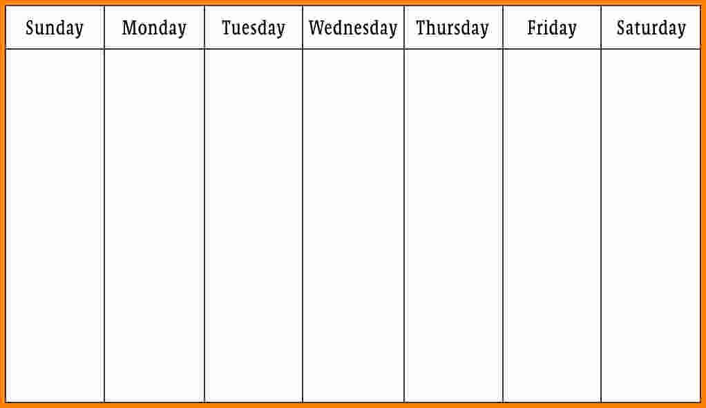 Monday Through Sunday Calendar Template Luxury 7 Monday Through Friday Calendar