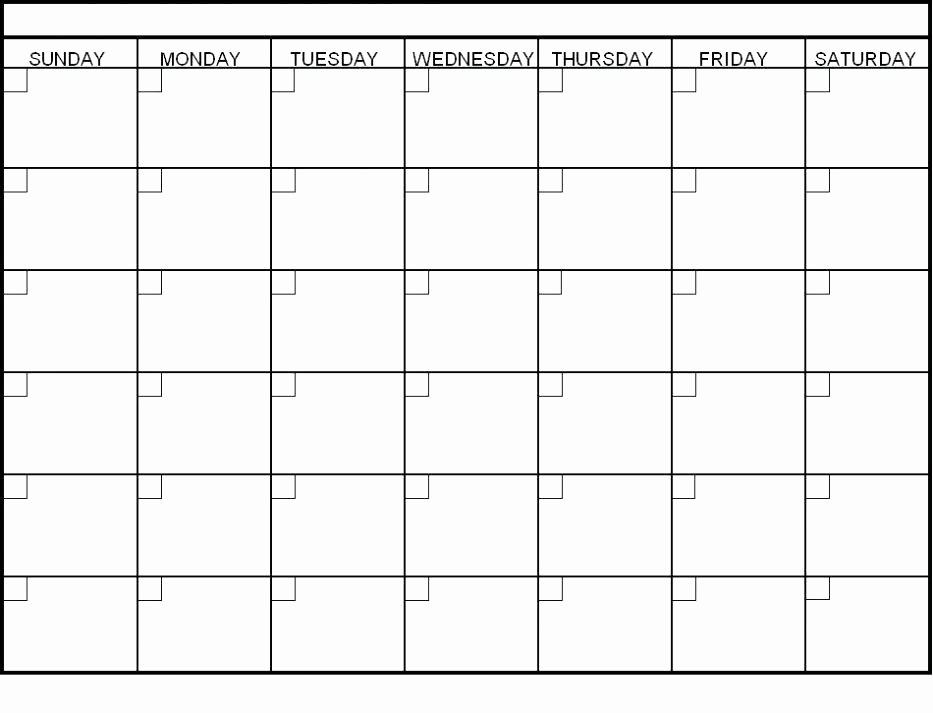 Monday Through Sunday Calendar Template New Blank Calendar Template Monday Through Friday Work