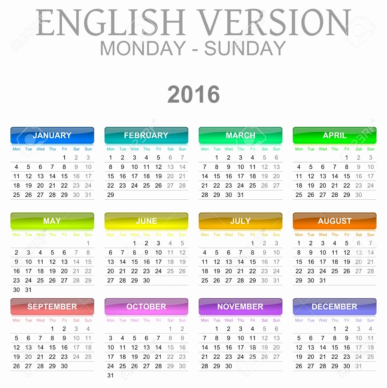 Monday to Sunday Calendar 2017 Awesome 2016 Calendar Monday Through Sunday