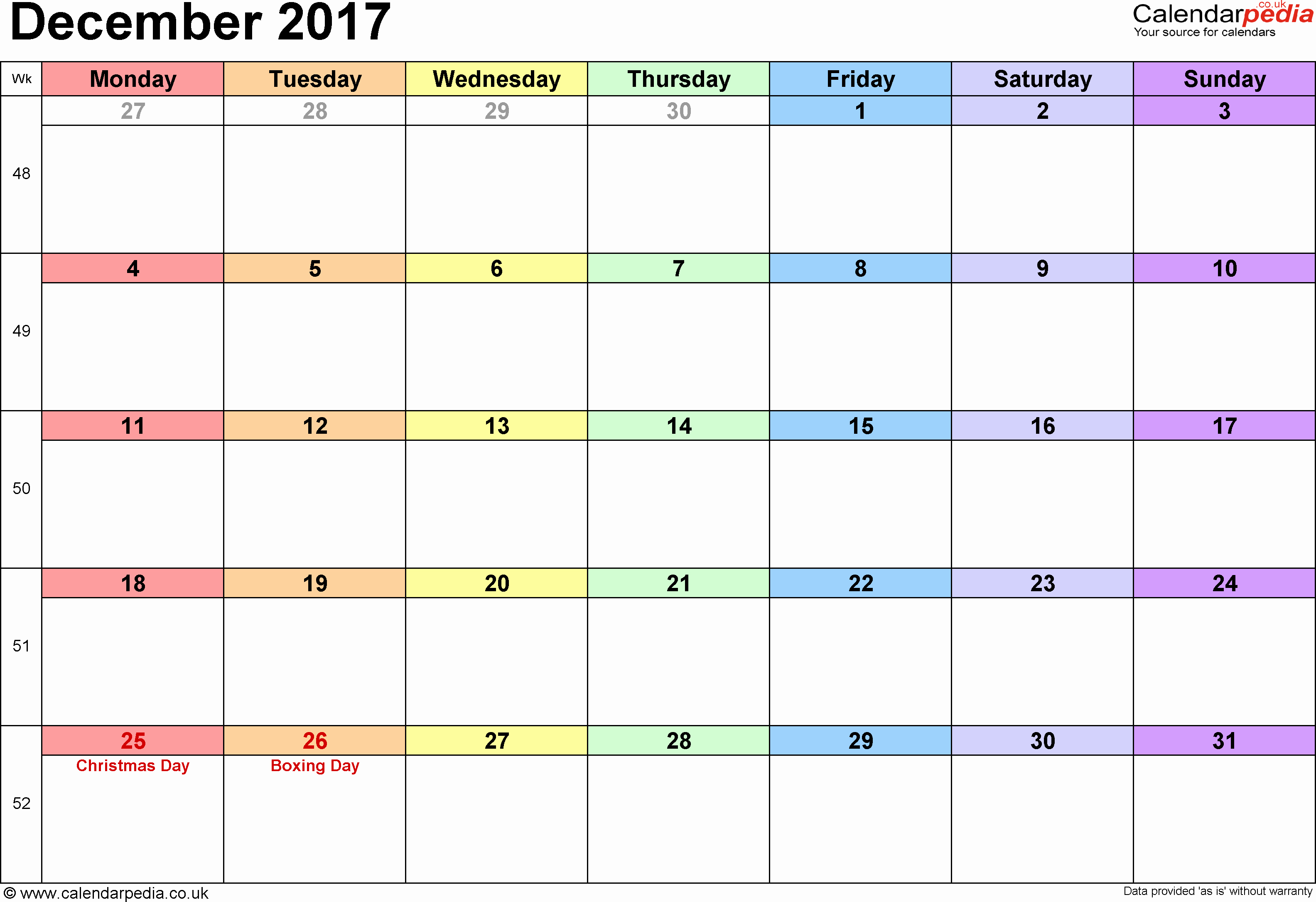 Monday to Sunday Calendar 2017 Awesome December 2017 Calendar Monday Sunday