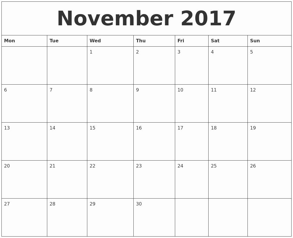 Monday to Sunday Calendar 2017 Beautiful November 2017 Calendar
