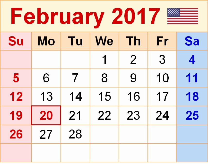 Monday to Sunday Calendar 2017 Fresh February 2017 Calendar Monday to Sunday Calendar and