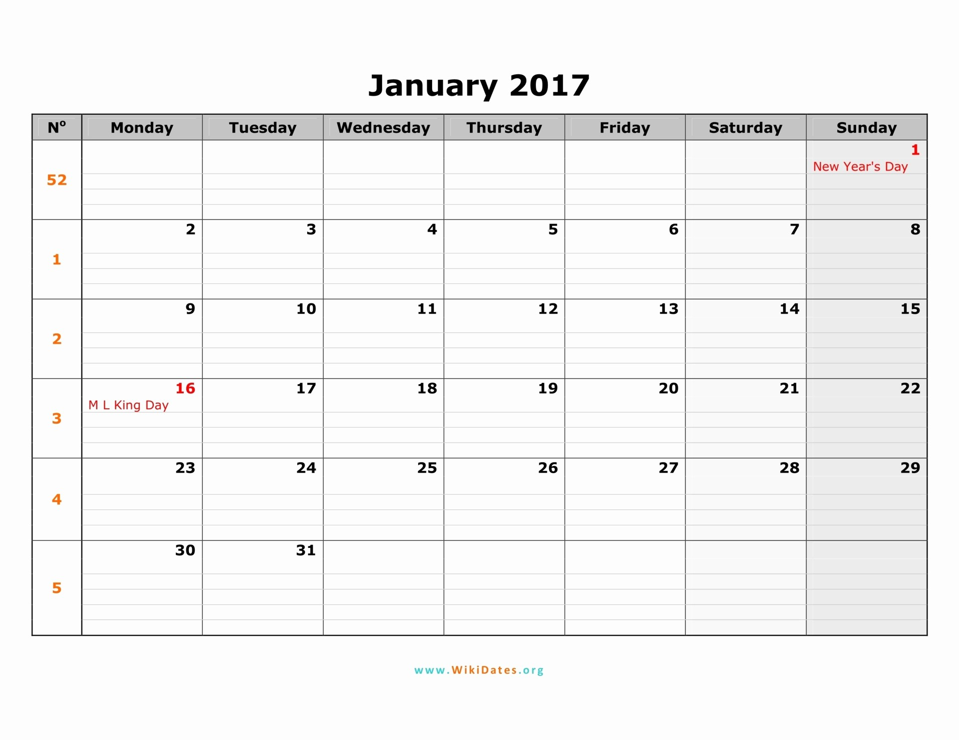 Monday to Sunday Calendar 2017 Inspirational 2017 Calendar