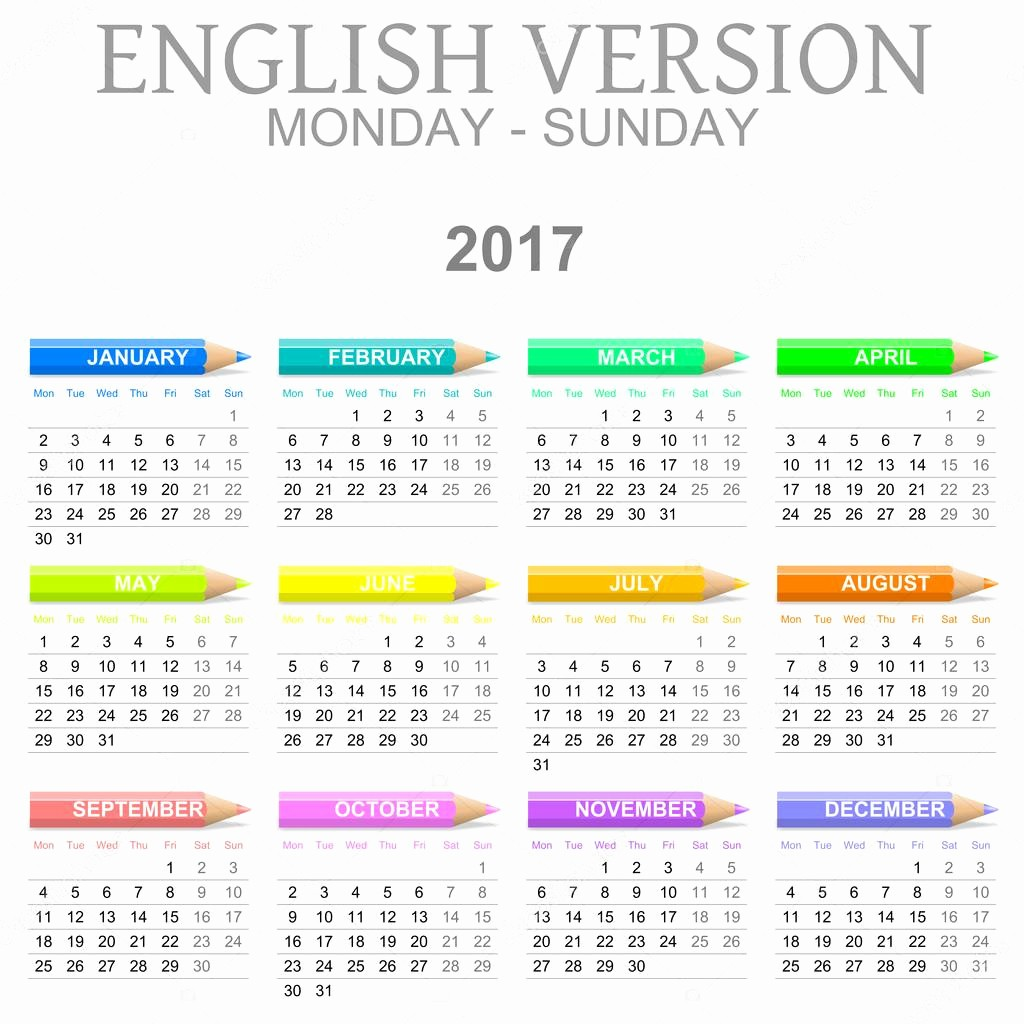 Monday to Sunday Calendar 2017 Lovely 2017 Crayons Calendar English Version Monday to Sunday