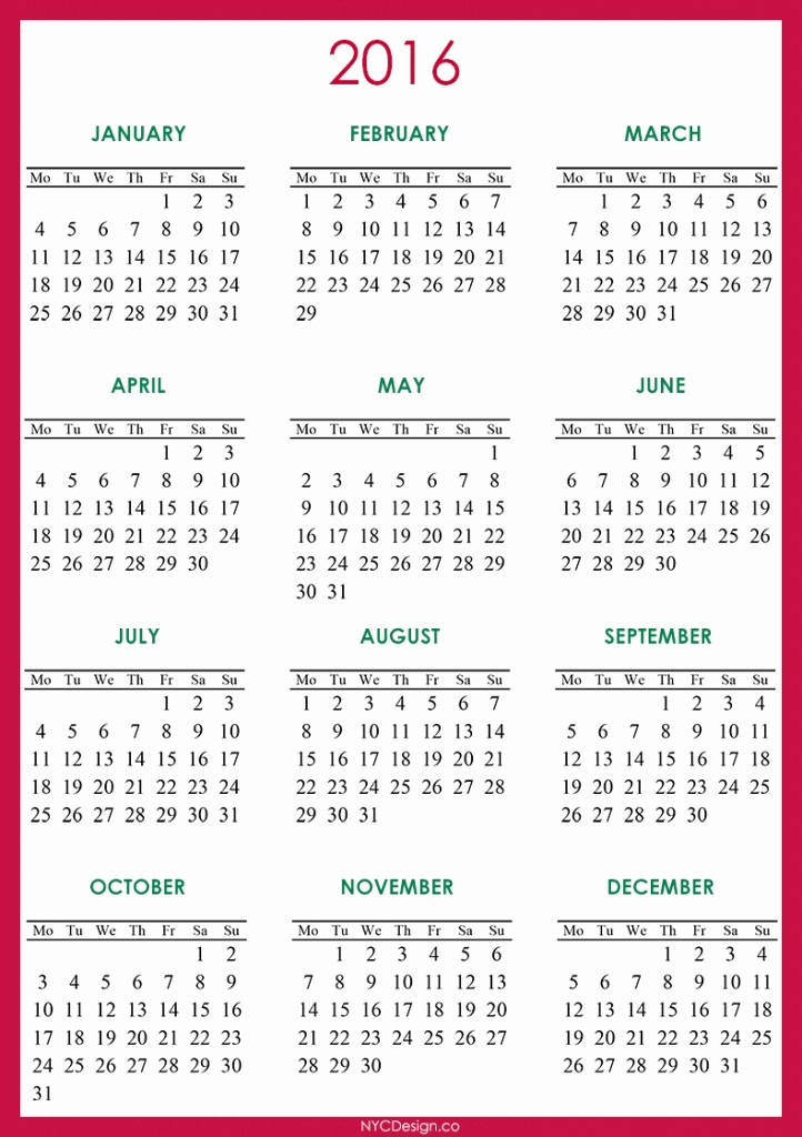 Monday to Sunday Calendar 2017 Luxury Monday to Sunday Calendar 2016