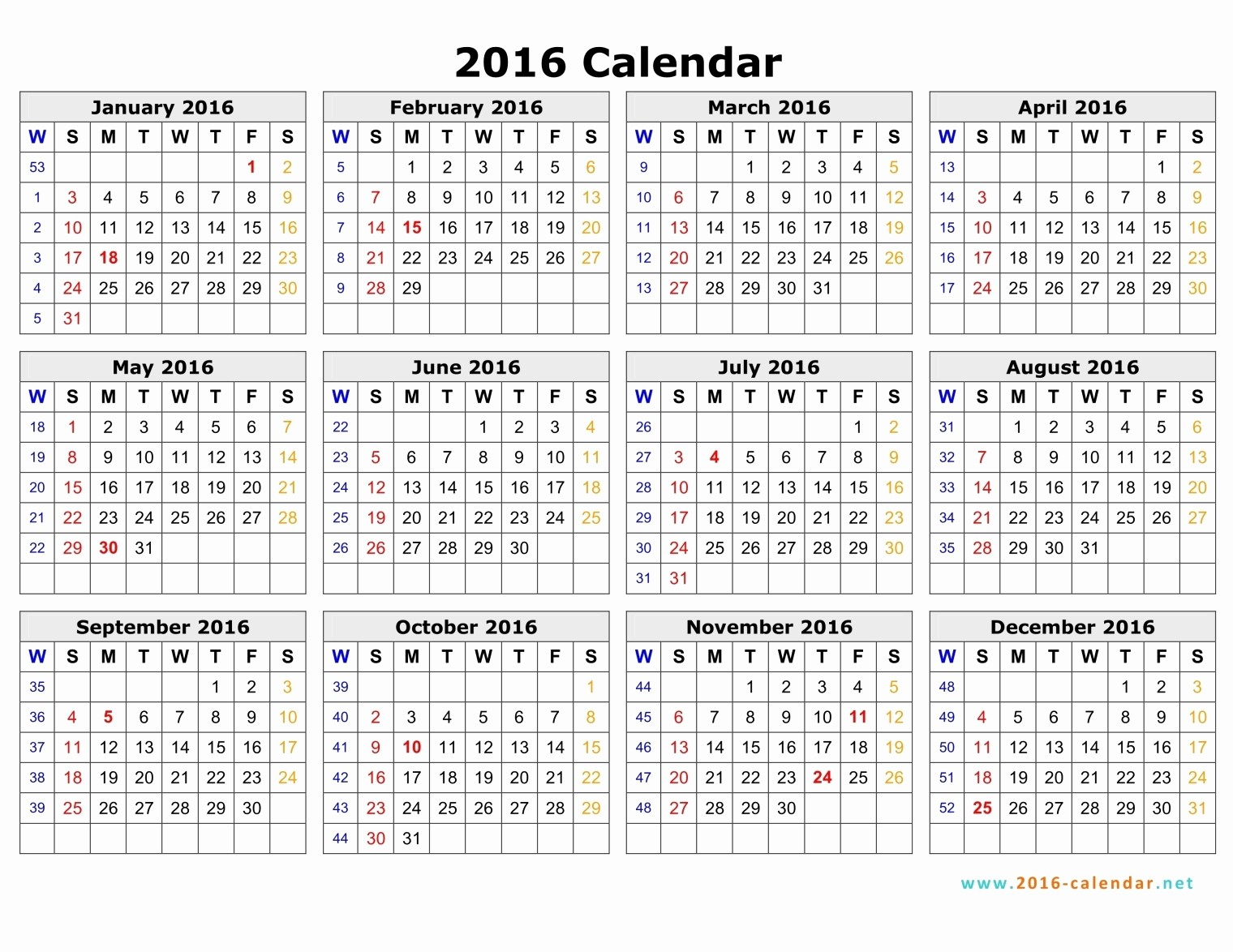 Monday to Sunday Calendar 2017 New 2016 Calendar Monday Through Sunday