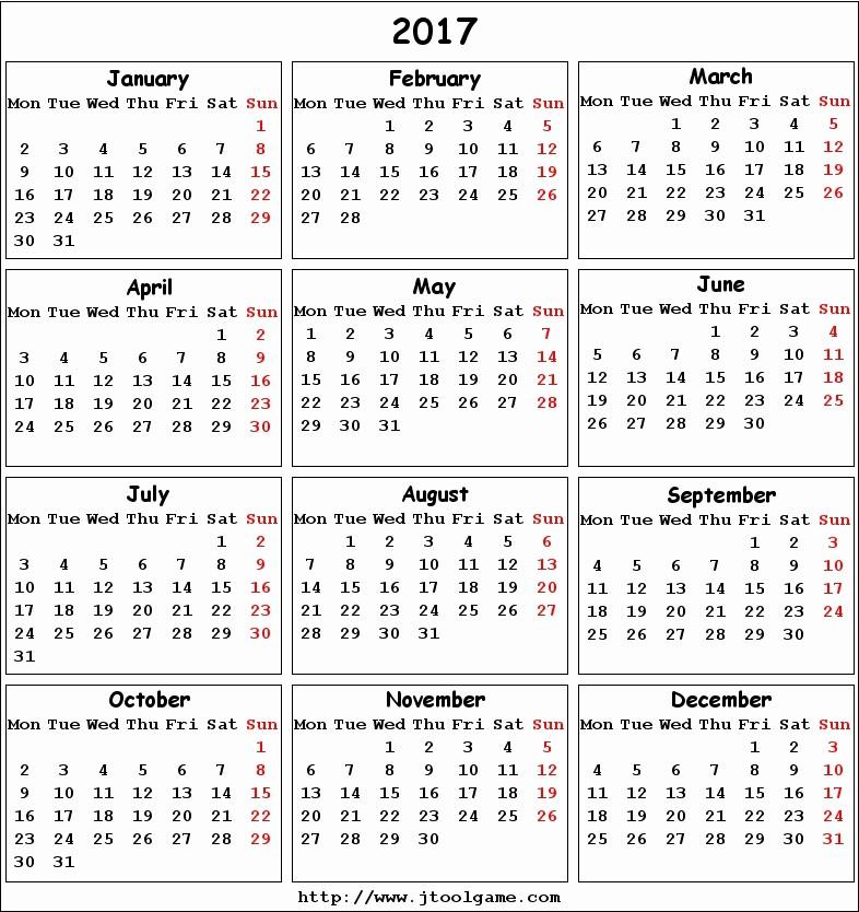 Monday to Sunday Calendar 2017 New 2017 Calendar Printable Calendar 2017 Calendar In