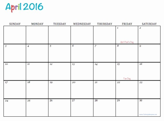 Monday to Sunday Calendar 2017 New April 2016 Free Calendar Monday Through Sunday