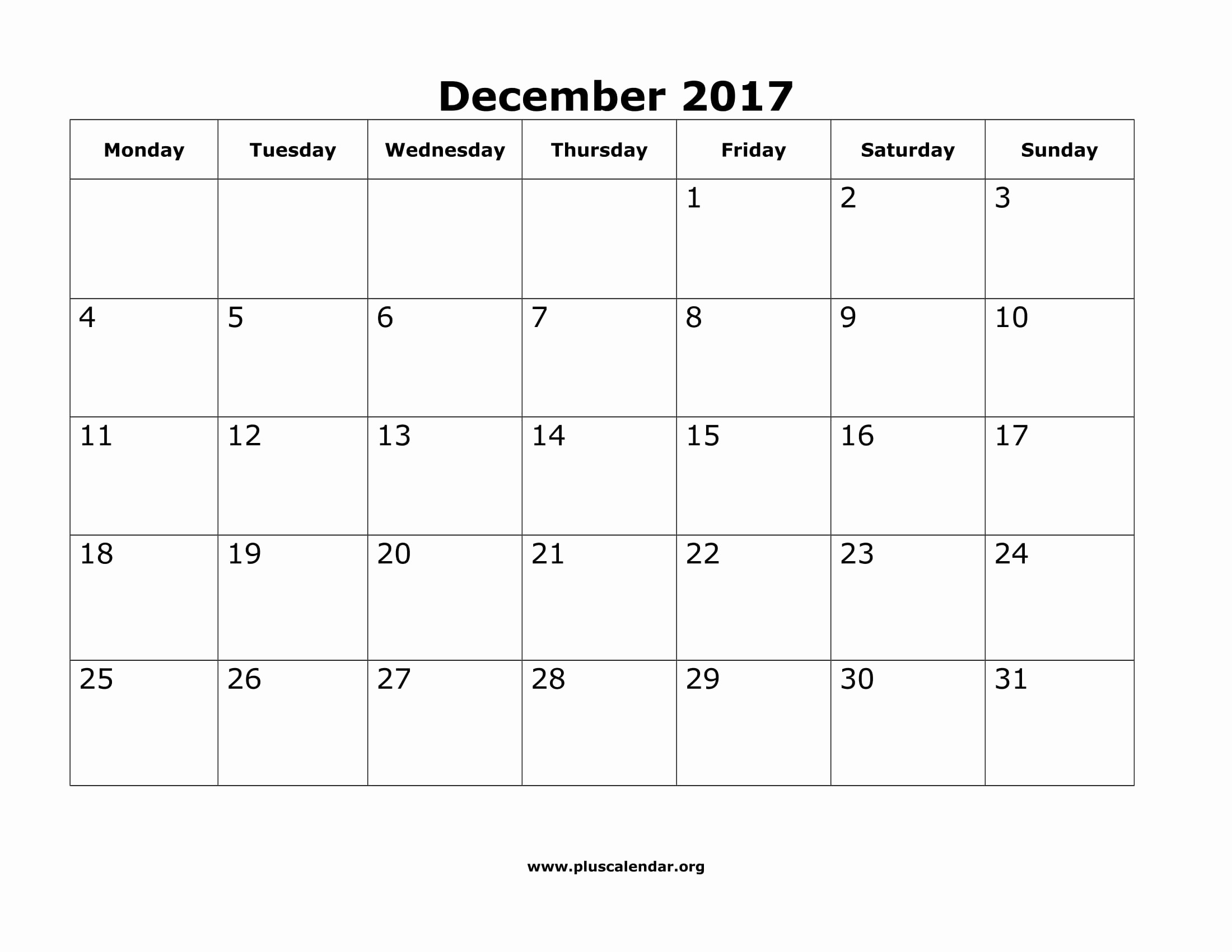 Monday to Sunday Calendar 2017 New December 2017 Calendar Monday Sunday