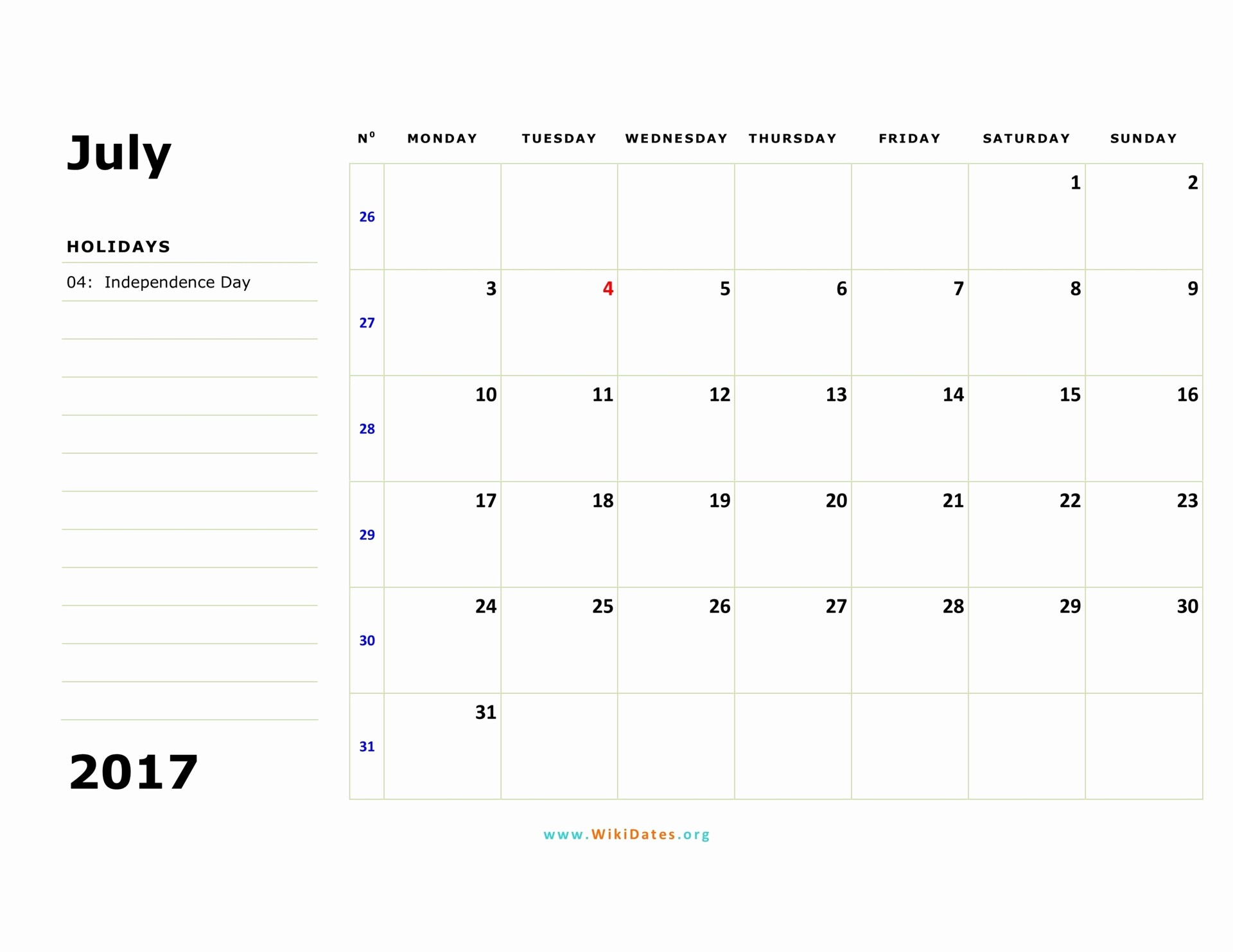 Monday to Sunday Calendar 2017 New July 2017 Calendar
