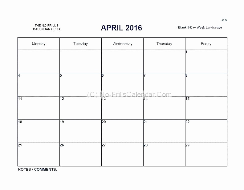 Monday to Sunday Calendar 2017 New Monday Friday Calendar Template Printable Weekly Through