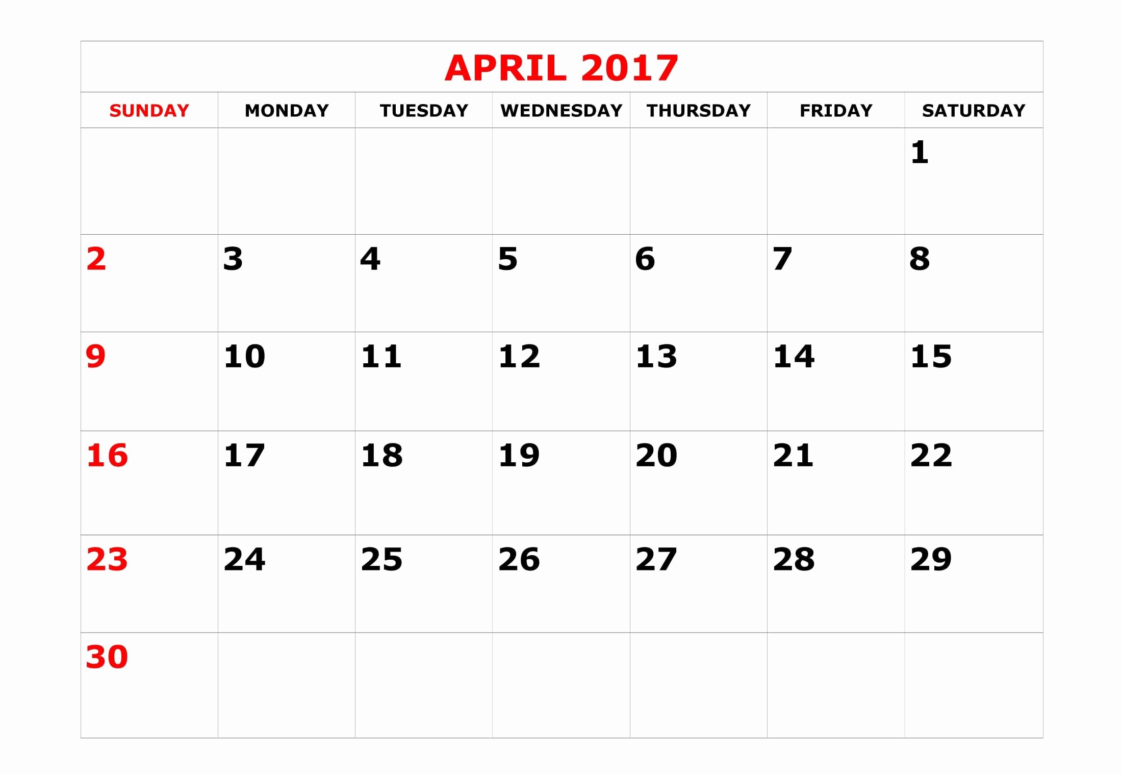 april 2017 calendar monday sunday