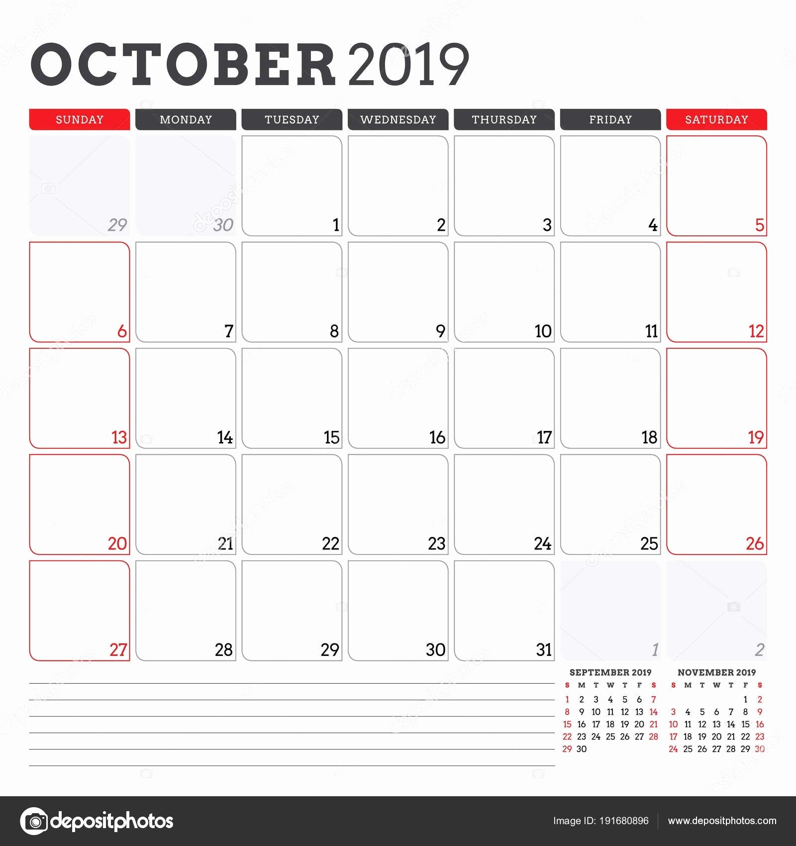 Monday to Sunday Calendar Template Best Of Monday to Sunday Calendar Template October 2019