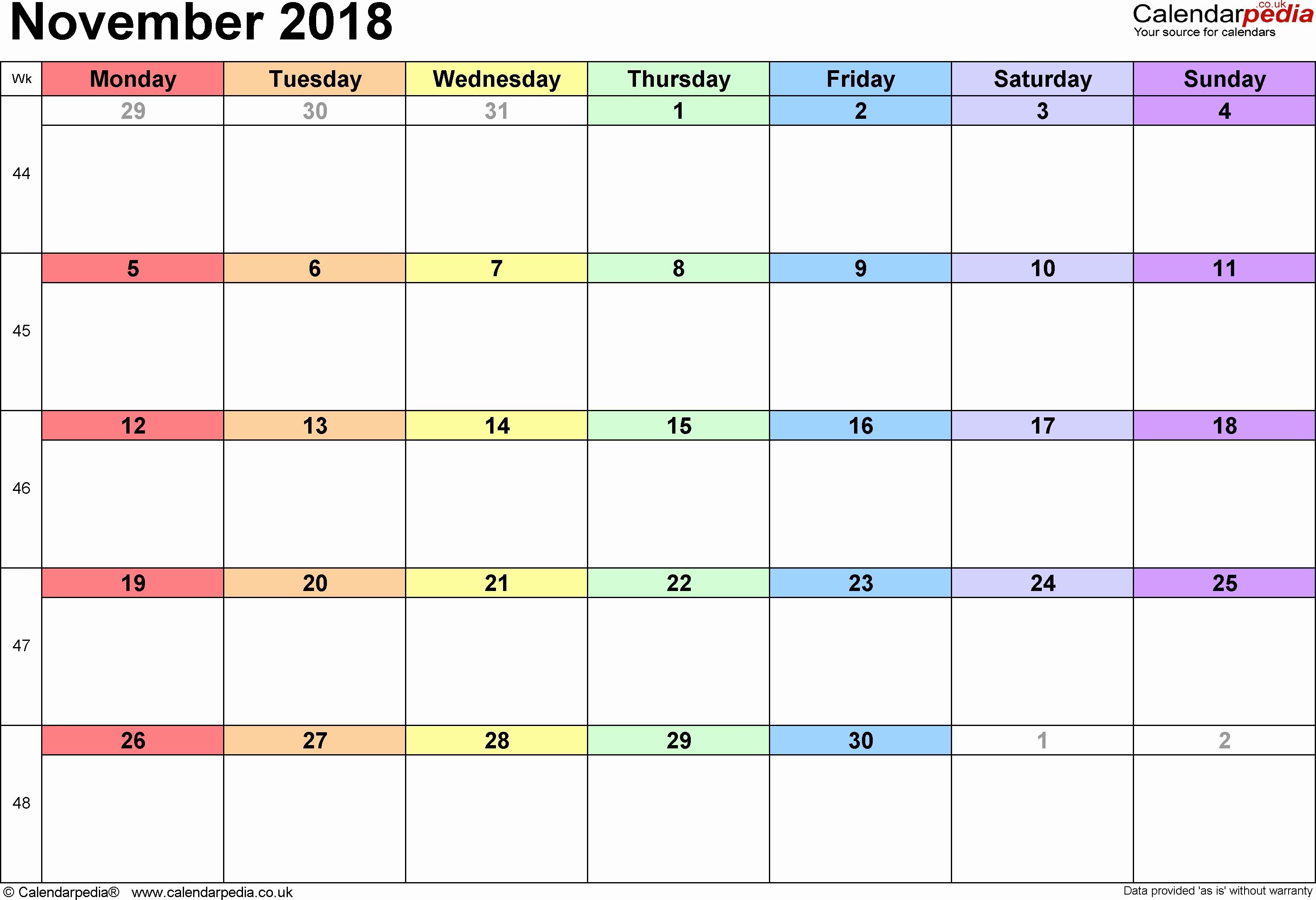 Monday to Sunday Calendar Template Fresh November 2018 Monday Through Sunday – Template Calendar Design