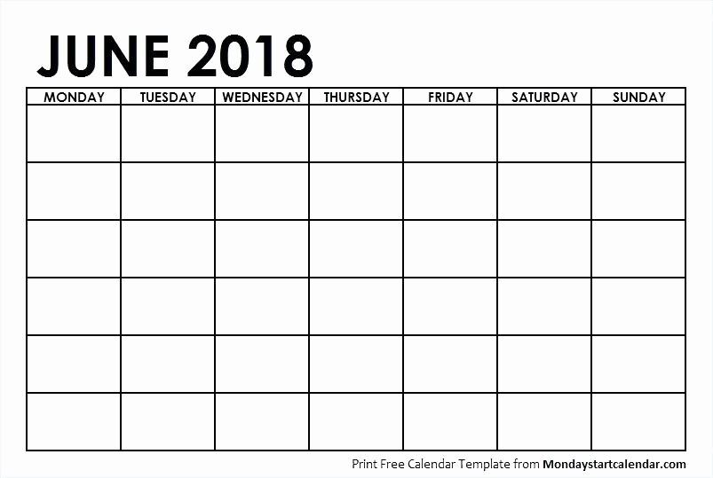 calendar monday through sunday