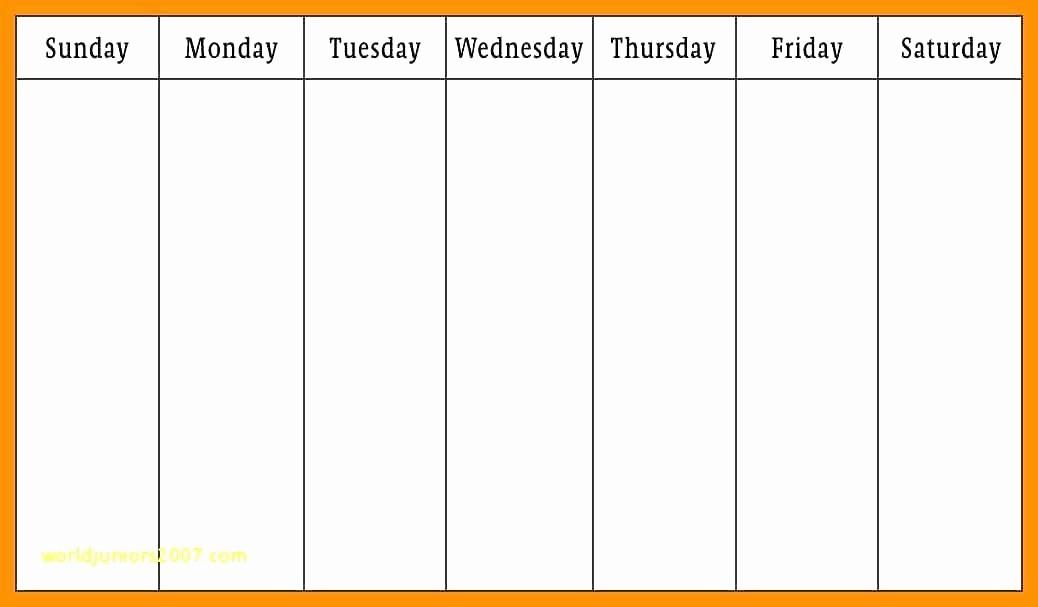 Monday to Sunday Calendar Template Inspirational Monday Friday Calendar Template Printable Weekly Through