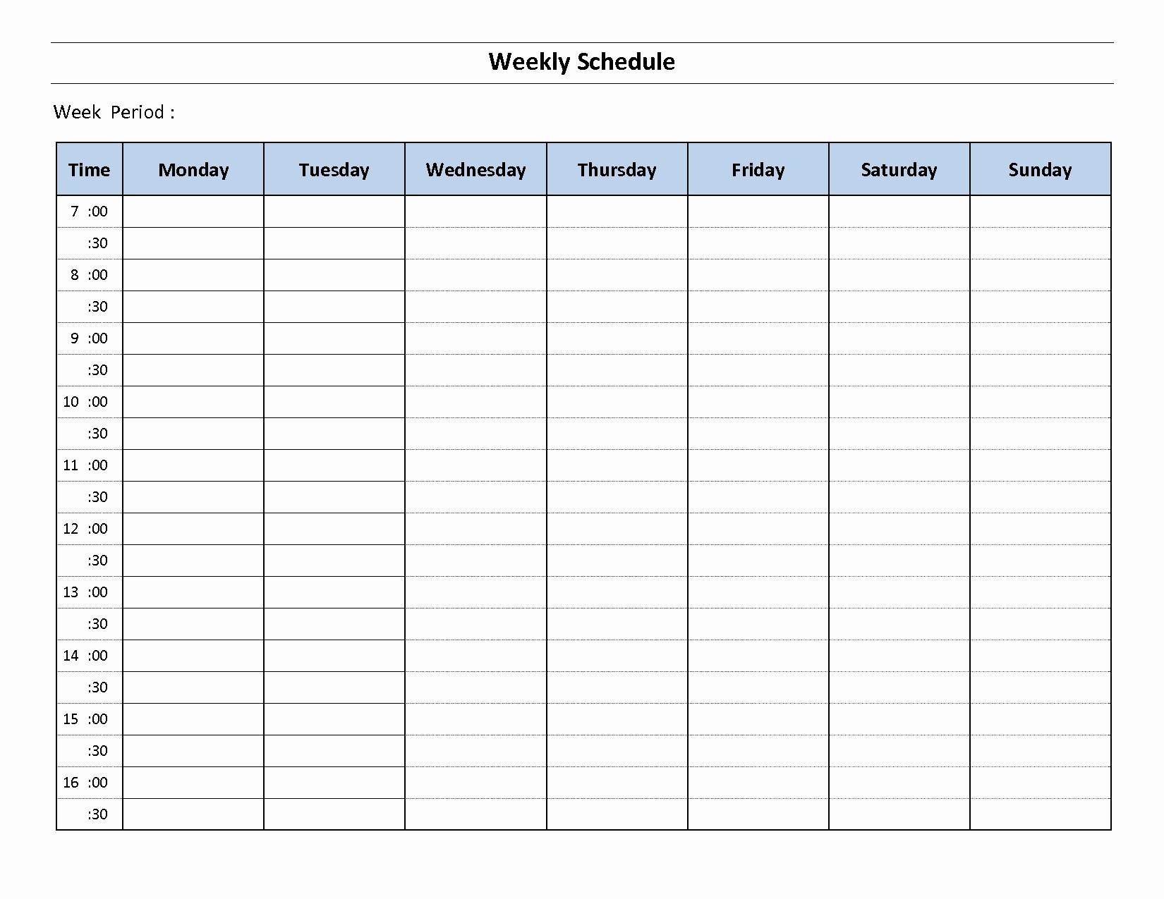 Monday to Sunday Calendar Template Inspirational Weekly Calendar Template Monday Thru Friday – Calendar