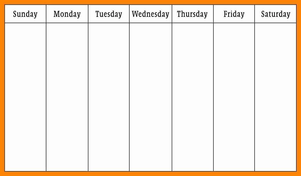 Monday to Sunday Calendar Template Lovely 7 Monday Through Friday Calendar