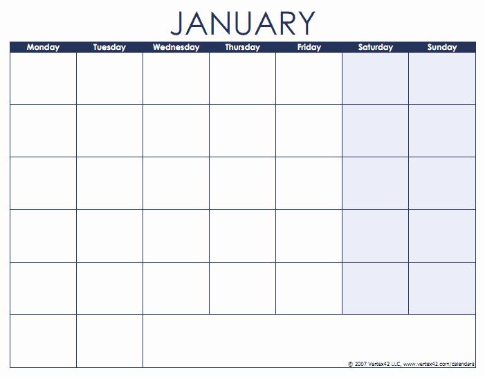 Monday to Sunday Calendar Template Luxury Blank Calendar Template Free Printable Blank Calendars
