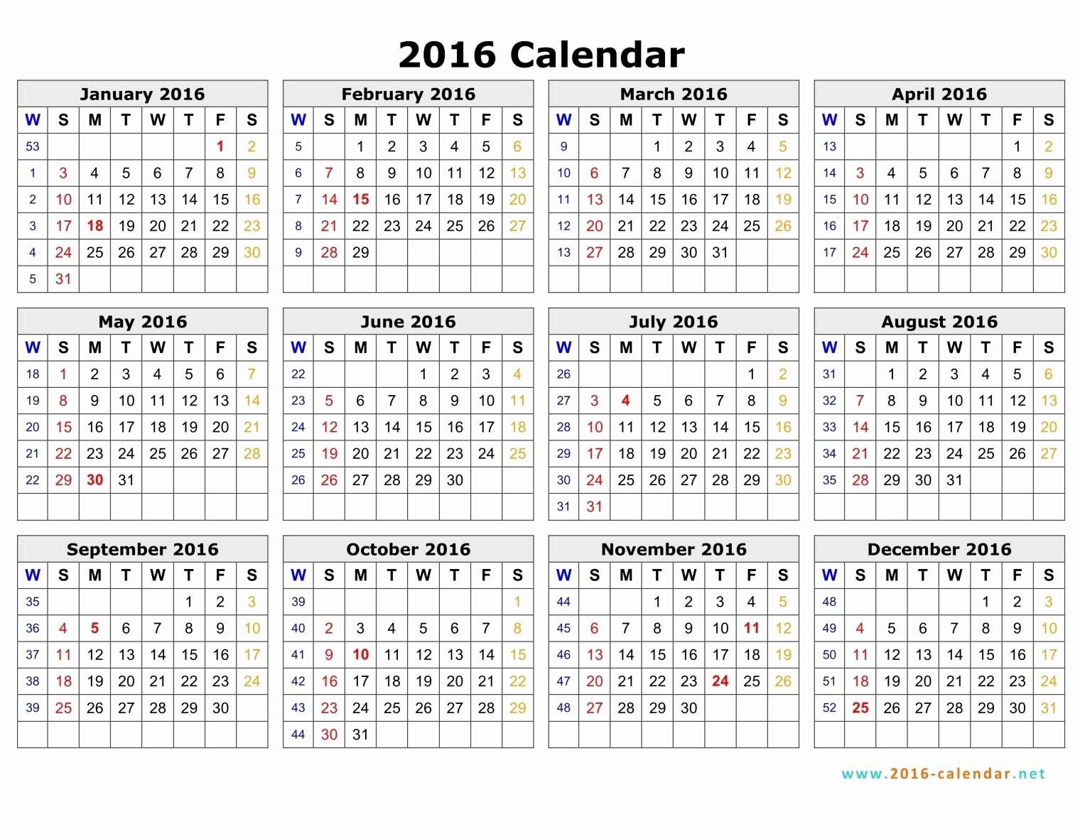 Monday to Sunday Calendar Template New 2016 Calendar Monday Through Sunday