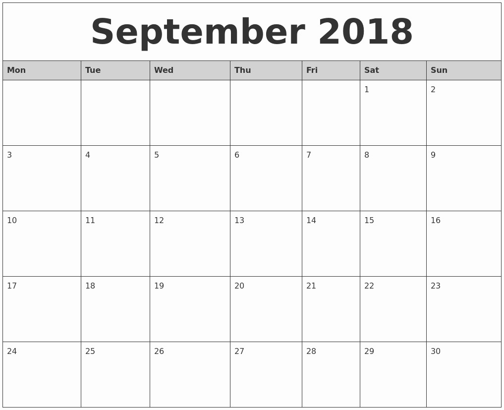Monday to Sunday Calendar Template New 2018 Monthly Calendar Monday to Sunday – Template Calendar
