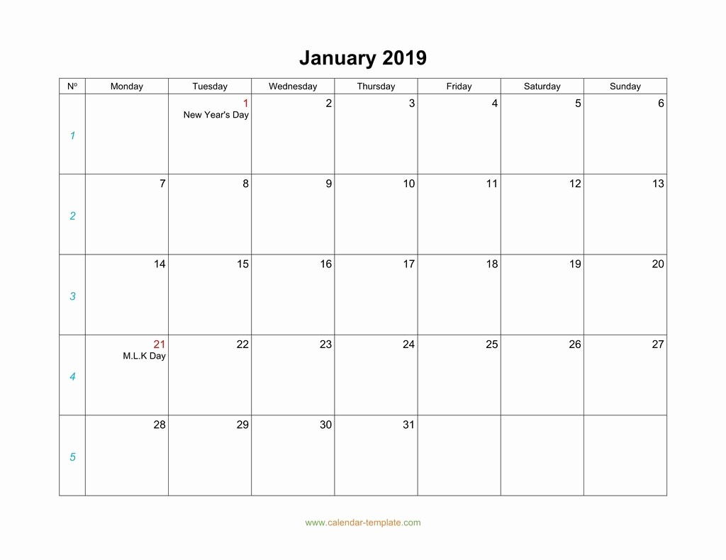 Monday to Sunday Calendar Template New Blank Calendar 2019