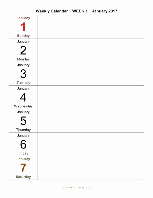 Monday to Sunday Calendar Template New Monday Through Friday Template Schedule Weekly Calendar to