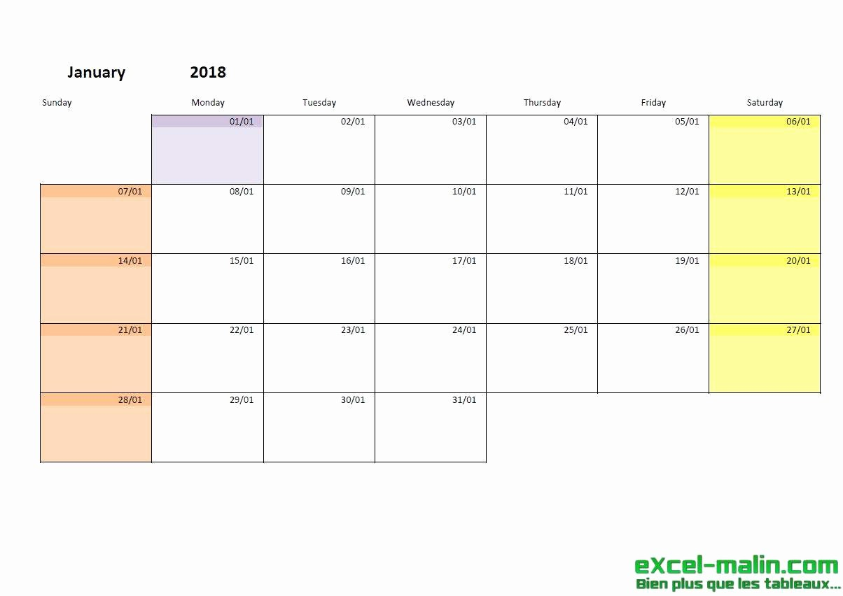 Month by Month Calendar Template Beautiful Printable Monthly Calendar Template for Excel