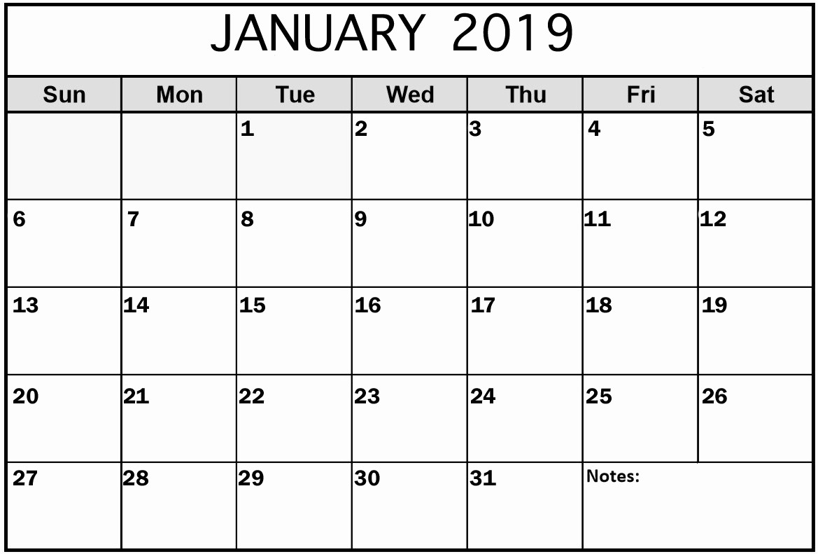Month by Month Calendar Template Fresh 2019 January Calendar In Pdf Word Excel Printable format