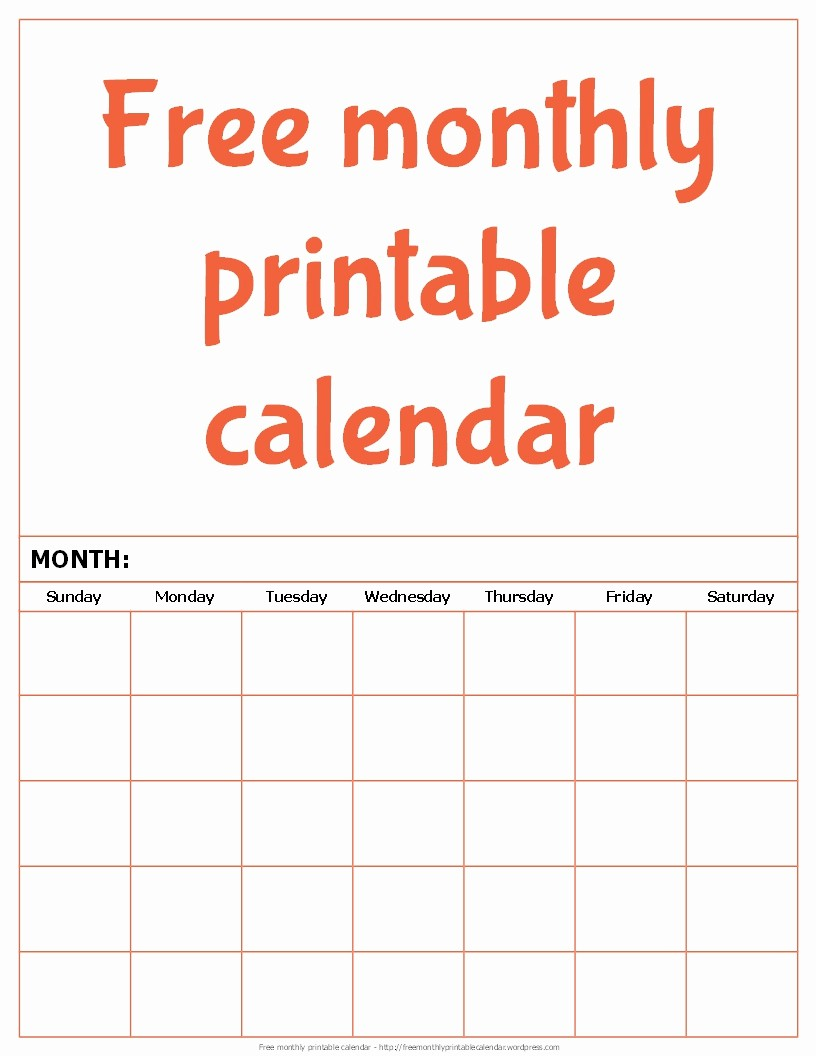 Month by Month Calendar Template Fresh Free Monthly Printable Calendar