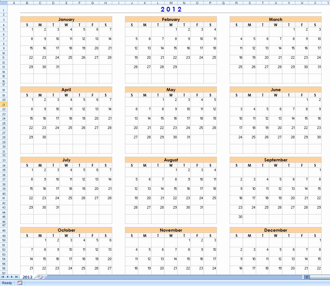Month by Month Calendar Template Inspirational 12 Month Calendar Excel