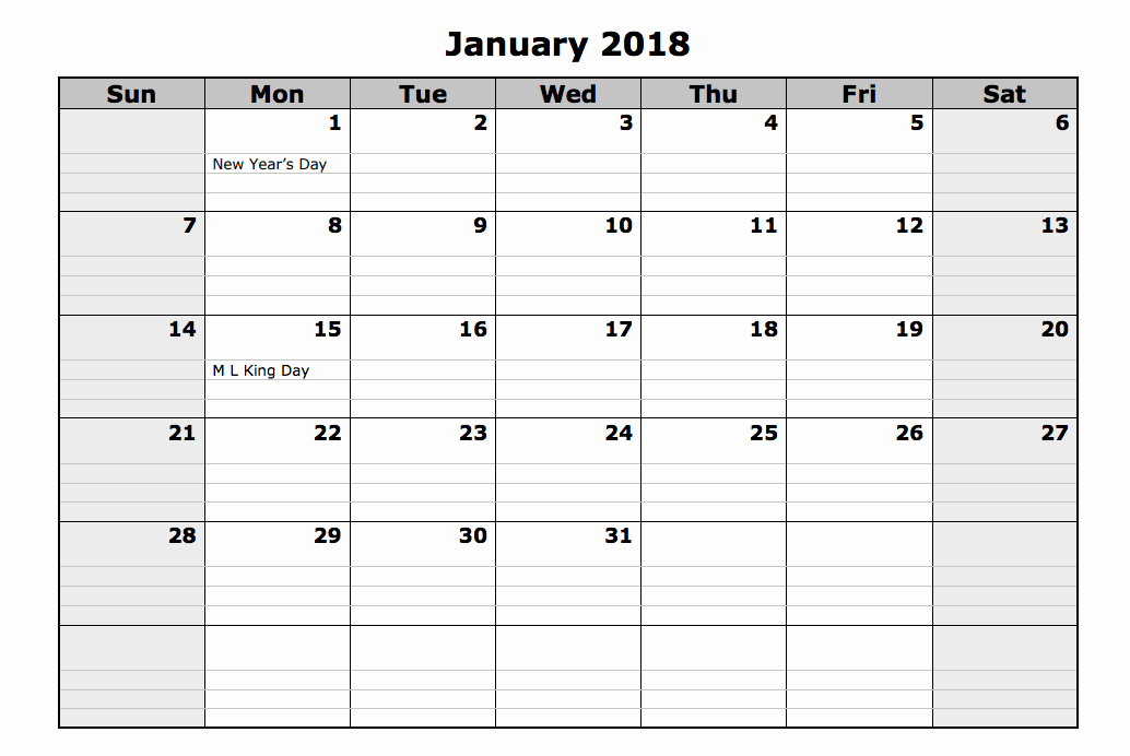 Month by Month Calendar Template New 2018 Monthly Calendar Printable 12 Month Templates Web
