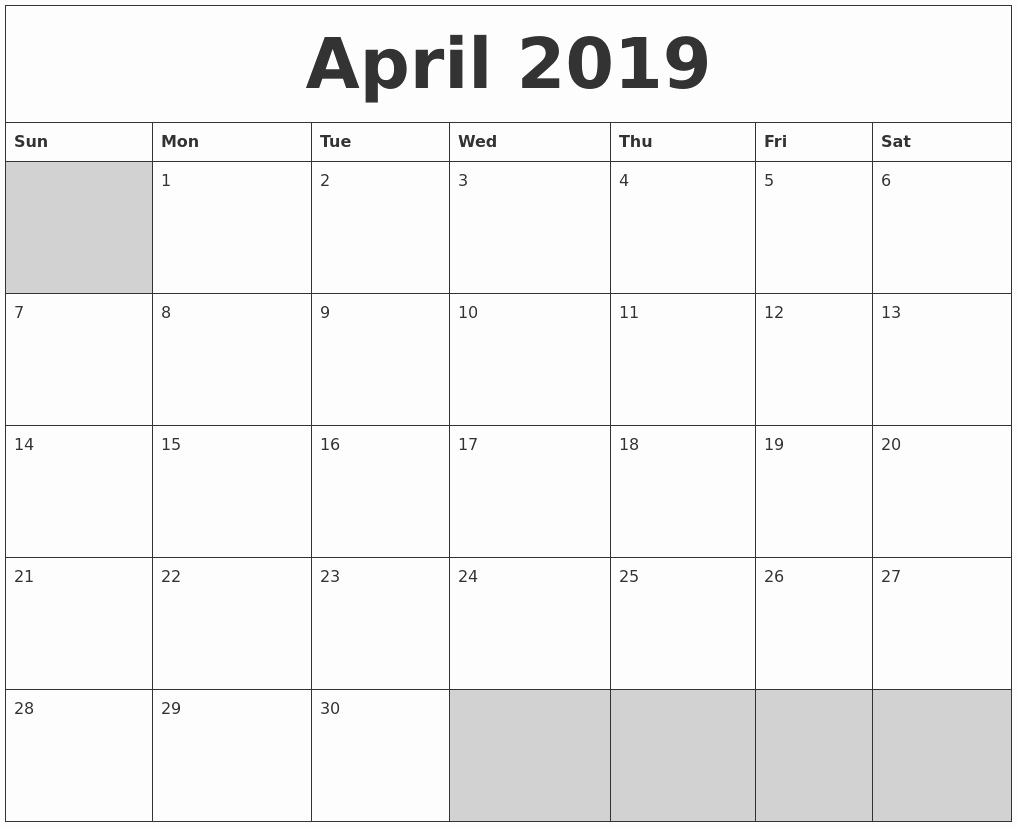 Month by Month Calendar Template New Blank Monthly Calendar 2019
