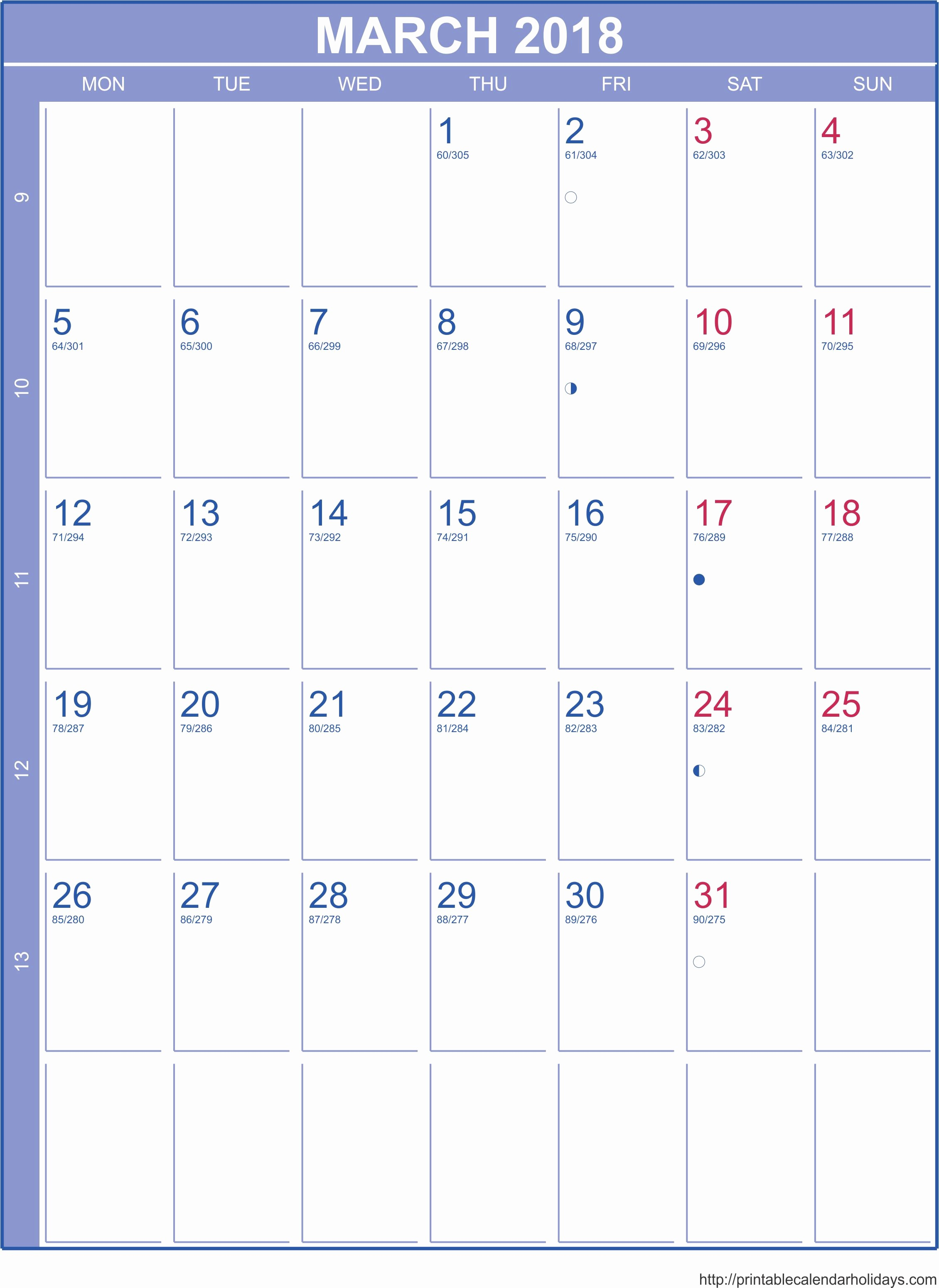 Month by Month Calendar Template Unique 2018 Monthly Calendar Template