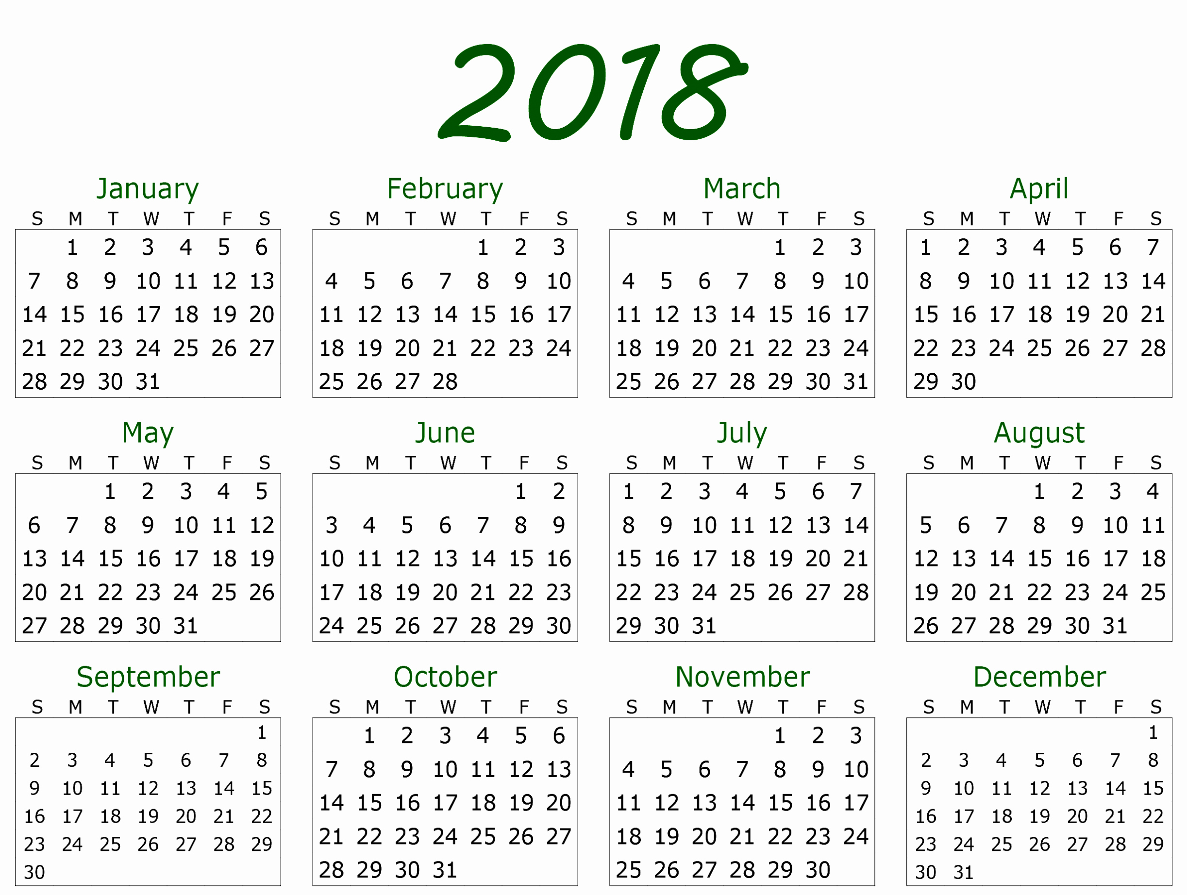 Month by Month Calendar Template Unique Monthly Yearly 2018 Calendar Template Excel Word