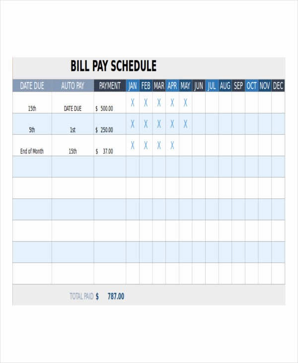 Monthly Bill Due Date Template Awesome Bill Payment Schedule Template 12 Free Word Pdf format