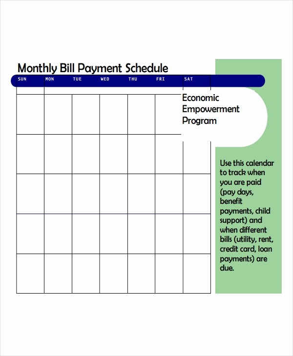 Monthly Bill Due Date Template Elegant 4 Bill Payment Schedule Templates Free Samples